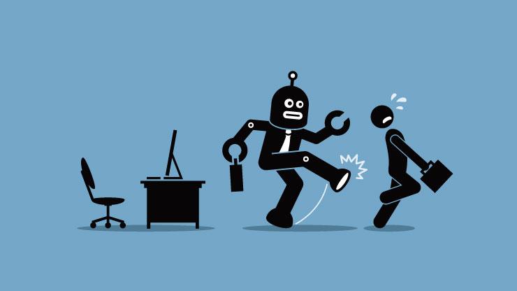 ロボットが人間を押しのけるイラスト